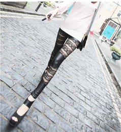 Wholesale Lace Pu Leggings - Fashion Women PU Leather Legging Punk Gothic Rock High-waist Stretch Pencil Pants Black Jacquard splice sexy Lace Leggings Q1