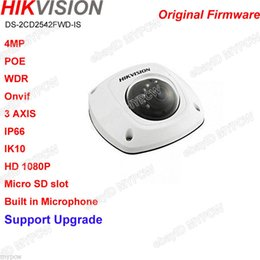 Wholesale Mini Ir Dome Camera - Hikvision original Upgradable english DS-2CD2542FWD-IS POE 4MP AUDIO Alarm Outdoor Waterproof Build in Mic WDR Mini Dome IR IP camera
