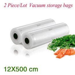 Wholesale Vacuum Pieces - (2 Pieces Lot ) PA+PE Portable Handy Rolls Vacuum Food Saving Storage Bags Sealing Sealer Keep Food Fresh 36#_12*500 cm