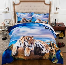 Wholesale Tiger Print Comforter Set King - Home Textiles Never Fade Tiger Pattern Home Textiles Personality Quilt Twin Queen King Size 3D Polyester Bedding Sets 3pcs