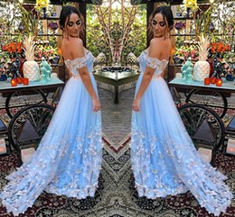 Wholesale Green Fairy Dress - Fairy Light Blue Tulle Evening Dresses Off Shoulder Pleated Butterfly Appliques Backless Formal Evening Gowns Prom Dresses Sweep Train