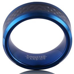Wholesale Band Ring Size 13 - Tungsten Carbide Ring For Men 8MM Blue Plated Inlay Black Carbon Fiber Brushed Beveled Edges on Sale Size 7#-13#