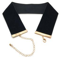 Wholesale Ribbons 4cm - 2016 Women Punk Wide Black Velvet Choker Necklace 4CM Width Collar Velvet Ribbon Choker Necklace Gothic Jewelry