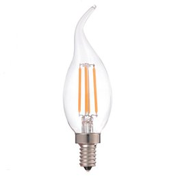 Wholesale Candle Pendant Lighting - Antique LED Filament Bulb Candle Flame Tip Style 4W Super Warm 2200K 110V 220V E12 E14 Base Chandelier Pendant Light Dimmable