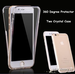 Wholesale Iphone White Front Cover - For S8 360 Degree Full Body Cover Case Front & Back Soft TPU Clear Protector for iPhone 7 6s SE Samsung S7 S6 Edge G530 On5 Huawei P8 Lite