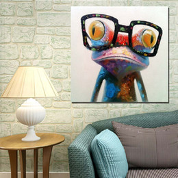 Wholesale Oil Painted Canvas Large - Wear Glasses Frog Hand painting Oil Painting On Canvas Large Abstract Cartoon Paintings Wall Decoration JL333