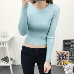 Wholesale Pull Girl - Wholesale-Brand Lady Fashion Autumn Winter Sexy Crop Top Sweater Short Pullovers Black Girls Cute Tops Round Neck Pull Femme Jumper C2976