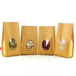 Ventana clara bolsas de regalo online-10 * 28 + 6 cm Stand Up Open Top Kraft Paper Favor Organ Bag W / Clear Window Para Nueces Empaquetado del regalo del partido del acordeón del bolsillo 20Pcs / Lot