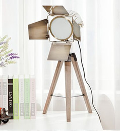 Wholesale Photo Light Table - 110V 220V Quality Wood Triangle Tripod Base Bronze Lamp Head Picture Photos Photography Desk Table Lamps Reading Lights Beside Lighting