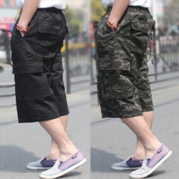 Wholesale Capris Shorts - Mens clothing Men shorts Pockets Cargo shorts Plus size Camo casual hiphop loose cotton twill Zippers elastic waist young black