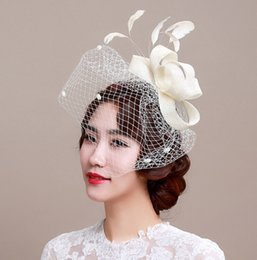 Wholesale Hair Accessories For Red Dress - Bridal Veil Accessories White Black Red Feathers Hat Clip Accessories For Christmas Party Wedding Dresses Hair Wear 2016 July Style