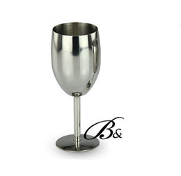 Wholesale Wholesale Glass Stemware - Upscale goblet Stainless Steel Red wine Wine Glasses Goblet Cup Stemware Bar Restaurant Brand New Good Quality Free Shipping