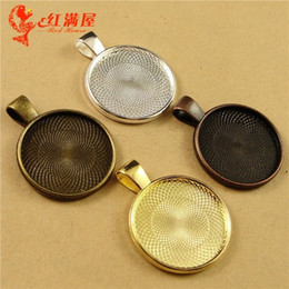 Wholesale metal gold trays - A1233 Fit 25MM Bronze Silver Gold round metal stamping blanks, Antique silver cameo cabochon setting, copper pendant blank bezel tray