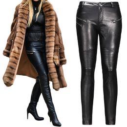 Wholesale Long Faux Leather Pants - 2017 winter Sexy Women Pu Leather Black Pants Zipper Stretch Bodycon Pleated Patchwork punk rock Women Pencil Long Pants