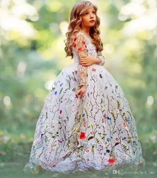 Wholesale T Shirts For Girls Embroidery - Ball Gown Girls Pageant Dresses Embroidery Flowers Sheer Long Sleeves Flower Girl Dresses For Wedding Children Handmade Kids Party Dress