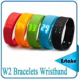 Wholesale Thermometer Bracelet - W2 Bracelets fitbit Smart Wristband Watch Slim Bracelet Watches Wristband Rushed Step Fitness Tracker 3D Pedometer Sleep Monitor Thermometer