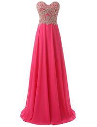 Wholesale Inspire Sales - Free Shipping Hot Sale Crystal Beaded Vestido De Festa Sweetheart A Line Evening Dresses Chiffon Celebrity Porm Party Dresses Vestido Longo