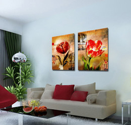 contemporary pictures paintings Promo Codes - Giclee Print Canvas Wall Art Tulip Flower Contemporary Abstract Floral Painting Home Decor Set20003