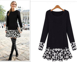 Wholesale European Plus Dress - European NEW women's fashion stitching Slim long sleeve floral casual sweater dress long tops Black color with plus size Free shipping
