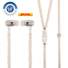 Wholesale Plug Phone Bling - (10pcs)Fashion Bling Diamond Pearl Necklace Chain Earphone 3.5mm Plug In-ear Hi-Fi Wired Stereo headset With Mic For Smart Phone Free DHL