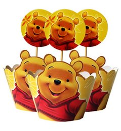 Wholesale Wholesale Xmas Picks - Movie Winnie the Pooh Cupcake Wrapper Decorating Boxes Cake Cup With Toppers Picks For Kids Xmas Birthday Party Decorations supplies