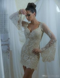 Wholesale Short Plus Size Clubwear Dress - Sexy Short Cocktail Dresses 2017 Beaded Lace Long Poet Sleeve Deep V Neck Mini Sheath 2017 Fashion Evening Clubwear Party Gowns Custom Made