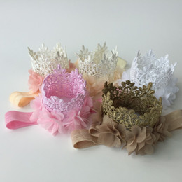 Wholesale Baby Crown Lace - Baby Girl Headband Matching Crown Nylon Princess Hair Accessories Lace Flower Headband Newborn Photography Props 24pcs lot QueenBaby