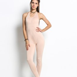 Wholesale Jumpsuits Sexy Low V Neck - Wholesale- 2017 Women Sexy Sleeveless Low Cut V-Neck Backless Skinny Tight Long Jumpsuit
