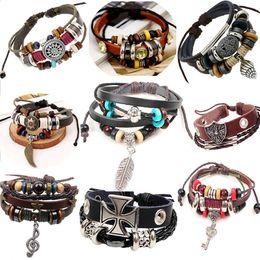 Wholesale Hand Chain Bracelet For Men - Wholesale-Retro rope leather mens bracelets leather rope hand woven bracelet for men rope braided bracelet male female bracelet Jewelry zc