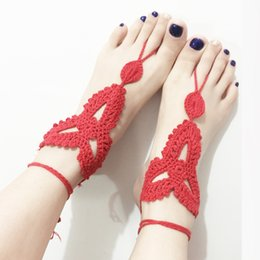 Wholesale Girls Lace Anklets - 10Pcs Lot Women Brand New Fashion Handmade Weaving Cotton Foot Flowers Anklets Multicolors Trendy Jewelry Beach Catch Anklets Free Shipping