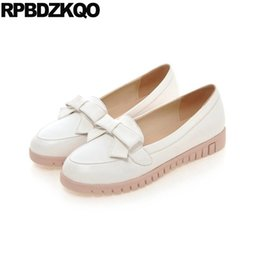 Wholesale White Pink Lolita Shoes - Round Toe Japanese White Large Size Ladies Platform Slip On Lolita Beautiful Flats Shoes 2017 Bow Women European Fashion Latest