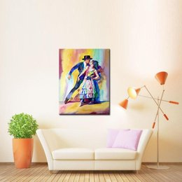 Wholesale Modern Oil Portraits - 1 Picture Combination painted Modern Canvas Paintings Double Tango Portrait Wall Art Oil Painting Bed Room Decoration Pictures