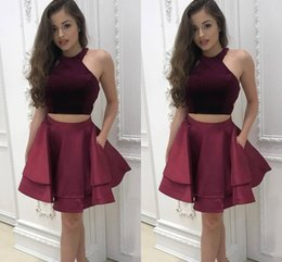 Wholesale Two Piece Cocktail Party Short Gown - 2018 New Simple Two Piece Burgundy Short Homecoming Dresses Halter Neck Cap Sleeves Pleats A-line Satin Graduation Sexy Cocktail Party Gowns