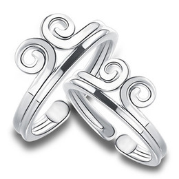 Wholesale Imitation Indian Jewellery - real 925 sterling silver jewellery finger rings woman man white gold open Sun Wukong spiral fashion gift fashion for girls boys friend 1pcs