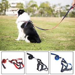 Wholesale Basic Fabric - Large size pet dog collars & leads solid denim fabric harness dog harness with 120cm denim leashes traction rope