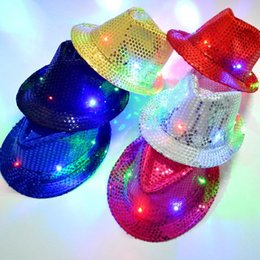 Wholesale Blue Light Jazz - 2017 Christmas Kids Adults Led Hats Jazz Flashing Lights Caps Party Items Gift Dancing Lovely Hats