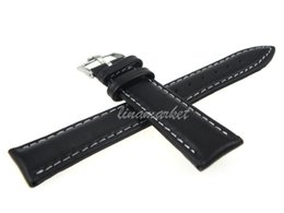 Wholesale stitch pins - Smooth Genuine Leather Watch Bands ZLIMSN 19mm Silver Pin Buckle White Stitched Black strap For P-OME54aw