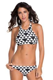Wholesale Sexy Halter Tops For Women - Black Block High Neck Tank Bikini Set For Women Sexy Crop Top Brazilian Triangle Halter Neck Push Up Swimwear Swimsuit 41254