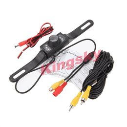 Wholesale Camera Car License Plates Night - 7 LED IR Night Vision parking sensor Car RearView Backup License Number Plate Camera with 5m free cable