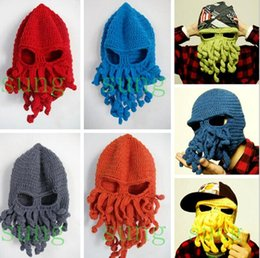 Wholesale Day Tentacle - Winter Wool Locomo Tentacle Octopus Cthulhu Men Knitted Beanie Head Hats Cap Wind Ski Mask Octopus Cap Funny Hat Christmas Fashion Adult Hat