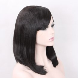 Wholesale Free Bang Clip - Favor Hair Bob Synthetic Lace Front Wig with Bangs for White Women with Straps and Clips Jet Black Free Part Heat Resistant Fiber