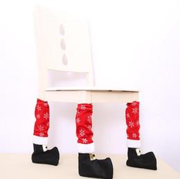 2019 pés para cadeiras Pés de Mesa de Santa Conjunto de Tampa de Alta Qualidade Cadeira de Natal Conjuntos de Pés Decorações de Móveis Xmas Perna Vermelha Pés Pretos pés para cadeiras barato