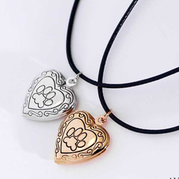 Wholesale Dog Frames - Photo Frame Memory Locket Pendant Necklace Silver Gold Color Mother's Day Gift Pet Cat Dog Paw Footprint Pendant Jewelry