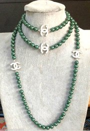 """Wholesale Malachite Green Pearl - 2016 hot buy pearl jade bracelet ring earring necklace Pendant >>>NEW Top Long beautiful 8mm Malachite green shell pearl necklace 50"""""""