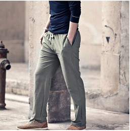 Wholesale Blue Linen Pants - Wholesale-High quality Mens Linen Pants 2016 Summer Style Joggers Solid Color Casual Loose Cotton and Linen sweatpants Trousers For Men