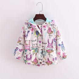 Wholesale Girls Coats Kids Hooded Sweater - 2016 hot sale INS Children winter warm coat flower animal kids jacket baby girl's sweaters girl outwear tench coats