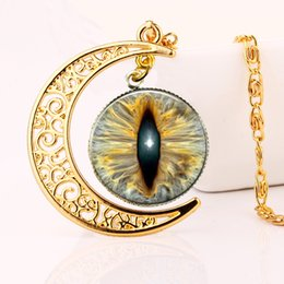 Wholesale Glass Evil Eye Necklace - 2016 Vintage fashion necklaces and pendants Evil Eye glass cabochon pendant moon gold necklace accessories women