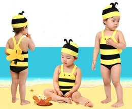 Wholesale Beach Sellers - Infant Swimsuit Hot Seller Girls Boys Kids Swimwear One Piece Swimsuit Hat Beach Supplies Cute Bee Modeling Polyester Ka433 Free Shipping