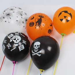 Wholesale Halloween Pumpkin Balloon - DHL Free Shipping Halloween balloon combo 12inches smooth, thick Party decoration balloons Night Pumpkin skeleton pirates spider baloons