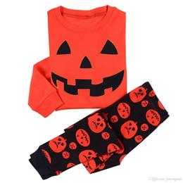 Wholesale Costume Pyjamas Kids - 2017 Arrival Halloween Orange Pumpkin Pyjamas Baby Boys Girls Pajamas Shirt + Pant Sets Costume Kids Clothing wholesale